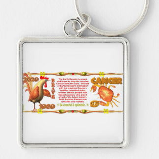 ValxArt Zodiac Earth Rooster born Cancer 1969 Keychains