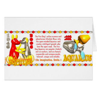 ValxArt zodiac fire dog Aquarius born 1946 2006 Card