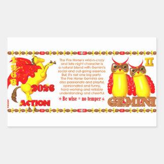Valxart zodiac fire horse Gemini born 1966 2026 Rectangular Sticker