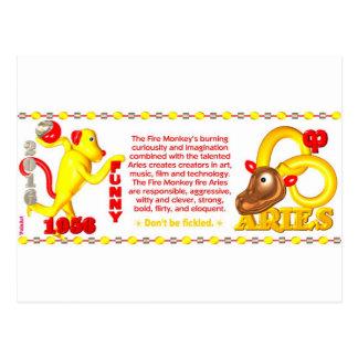 ValxArt zodiac fire monkey Aries born 1956 2016 Postcard