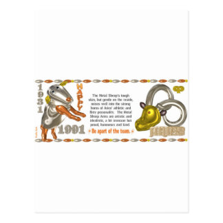 ValxArt Zodiac Metal sheep Aries born 1931 1991 Postcard