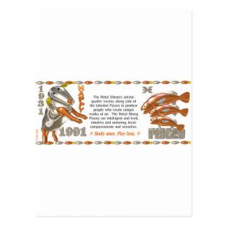 ValxArt Zodiac metal sheep Pisces born 1931 1991 Postcard