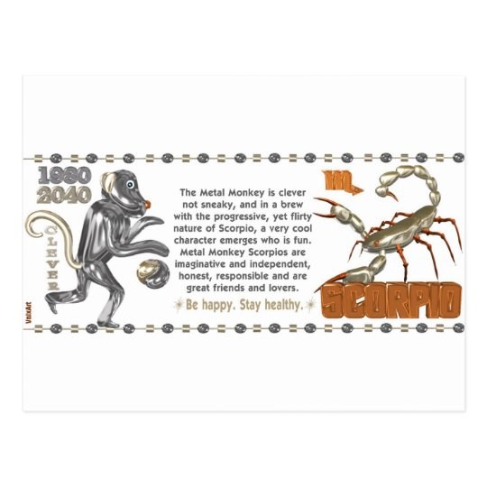 ValxArt Zodiac Scorpio Metal Monkey 1980 1920 Postcard