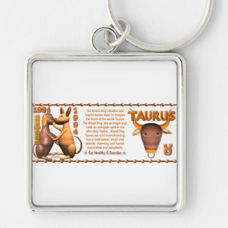 ValxArt Zodiac Taurus Yin Wood Dog 1934 1994 Keychains