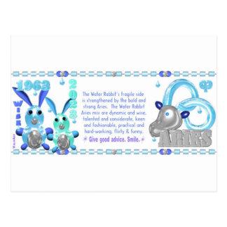 ValxArt Zodiac water rabbit born Aries 1963 2023 Postcard