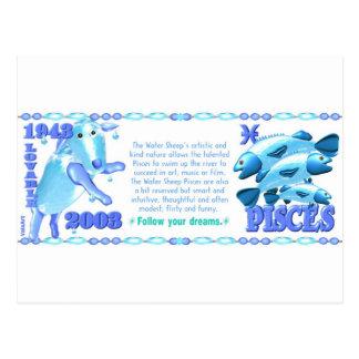ValxArt Zodiac water sheep born Pisces 1943 2003 Postcard