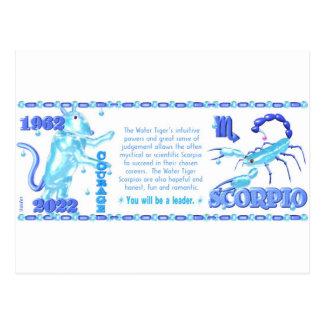 ValxArt Zodiac water tiger born Scorpio 1962 2022 Postcard