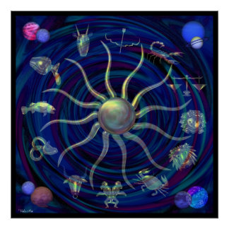 Valxart zodiac wheel of life universe poster