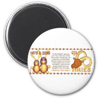 ValxArt Zodiac wood rabbit born Aries 1975 2035 2 Inch Round Magnet