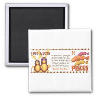 ValxArt Zodiac wood rabbit born Pisces 1975 2035 2 Inch Square Magnet