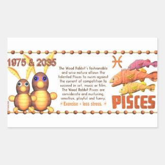 ValxArt Zodiac wood rabbit born Pisces 1975 2035 Rectangular Sticker