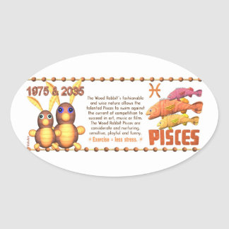 ValxArt Zodiac wood rabbit born Pisces 1975 2035 Oval Sticker