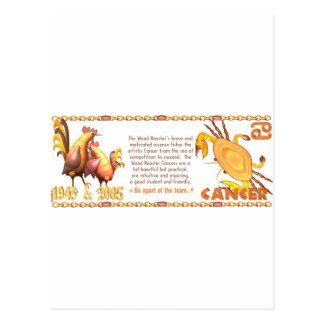 ValxArt Zodiac wood rooster born Cancer 1945 2005 Postcard