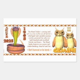 ValxArt Zodiac wood snake born Gemini 1965 2025 Rectangular Sticker