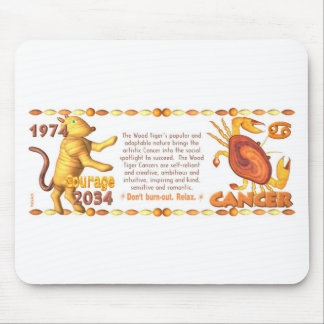 ValxArt Zodiac wood  tiger born Cancer 1974 2034 Mouse Pad