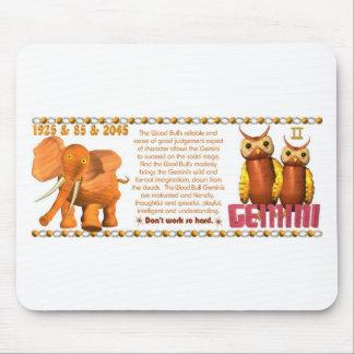 ValxArt Zodiac Yang Gemini Wood Bull 1925 1985 Mouse Pad