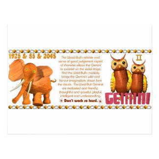 ValxArt Zodiac Yang Gemini Wood Bull 1925 1985 Postcard
