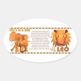 ValxArt Zodiac Yang Leo Wood Bull 1925 1985 Oval Sticker