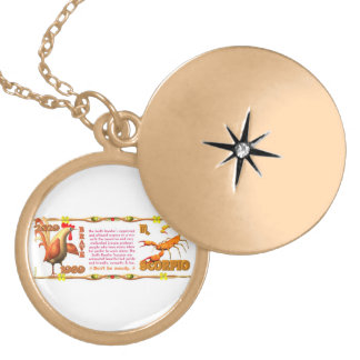 Valxart's 1969 Earth Roster zodiac Scorpio Round Locket Necklace