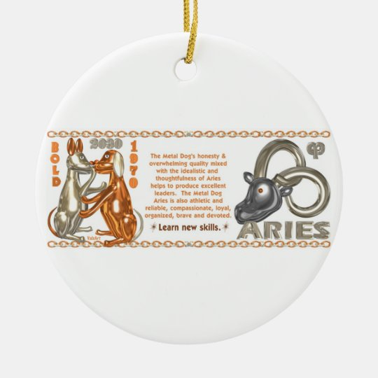 Valxart's 1970 2030 MetalDog zodiac born Aries Ceramic Ornament