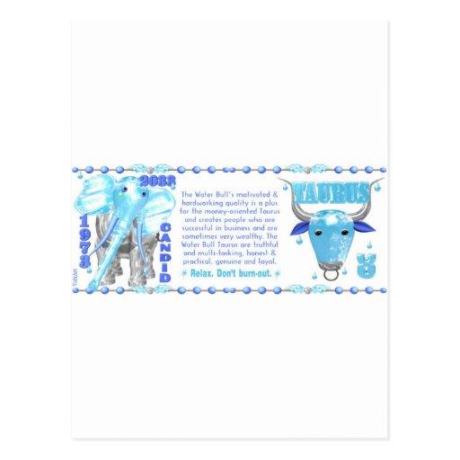 Valxart's 1973 2033 Zodiac WaterBull born Taurus Postcard