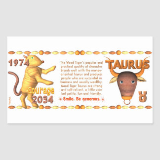 Valxart's 1974 2034 Wood Tiger  zodiac born Taurus Rectangular Sticker
