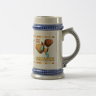 Valxart's 1974 WoodTiger  zodiac born Aquarius Beer Stein