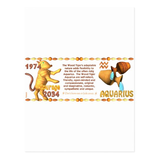 Valxart's 1974 WoodTiger  zodiac born Aquarius Postcard