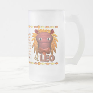 Valxart's 1974 WoodTiger  zodiac born Leo Frosted Glass Beer Mug