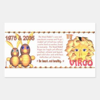 Valxart's 1975 WoodRabbit zodiac born Virgo Rectangular Sticker