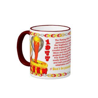 Valxart's 1977 Fire Snake  zodiac born Sagittarius Ringer Mug