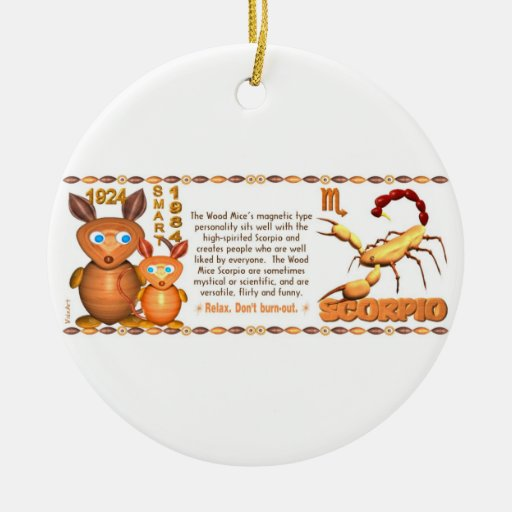 Valxart's 1984 WoodRat zodiac born Pisces Ceramic Ornament