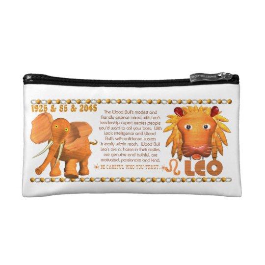 Valxart's 1985 zodiac wood bull born Leo Cosmetic Bag