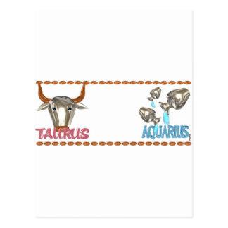 ValxArt's friendship between Taurus Aquarius sign Postcard