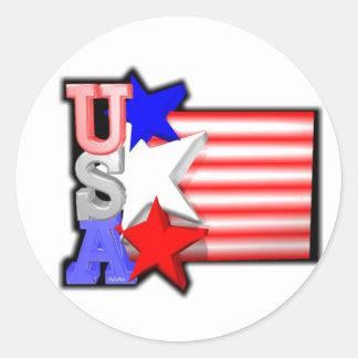 ValxArt's USA red ,white and blue stars Classic Round Sticker