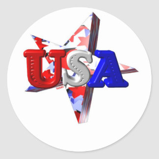 Valxart's USA shooting star Classic Round Sticker