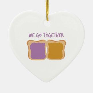 Vamos juntos adorno navideño de cerámica en forma de corazón