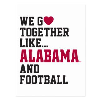Vamos juntos como Alabama y fútbol Postales