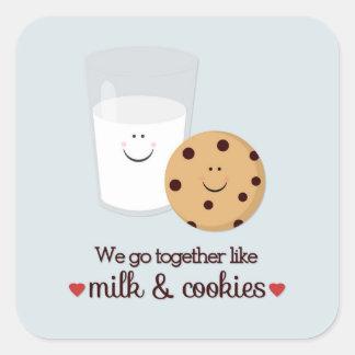 Vamos juntos como la leche y las galletas pegatina cuadrada