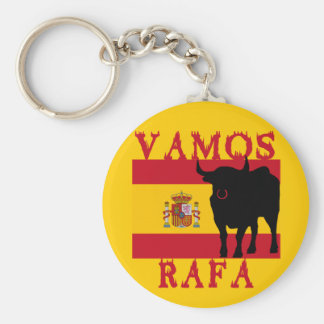 Vamos Rafa con la bandera de España Llavero Redondo Tipo Pin
