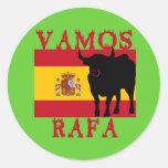Vamos Rafa con la bandera de España Etiqueta Redonda