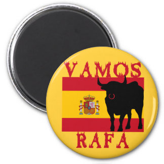Vamos Rafa With Flag of Spain 2 Inch Round Magnet
