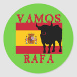 Vamos Rafa With Flag of Spain Round Sticker