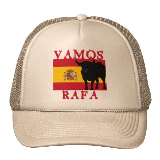 Vamos Rafa With Flag of Spain Trucker Hat
