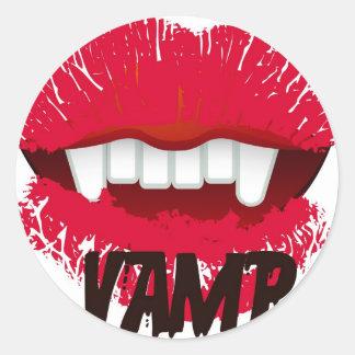 VAMP LIPS PRINT CLASSIC ROUND STICKER