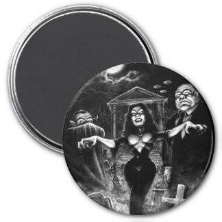 Vampira Plan 9 zombies 3 Inch Round Magnet