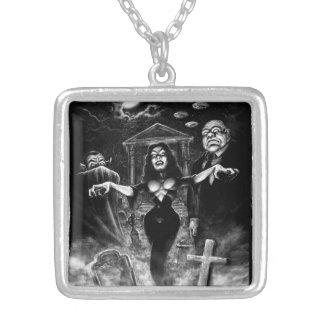 Vampira Plan 9 zombies Square Pendant Necklace