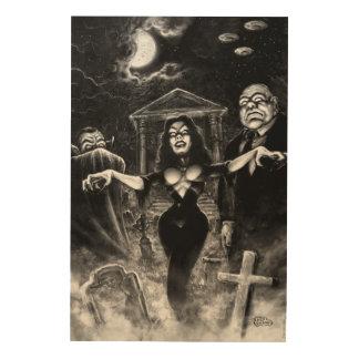 Vampira Plan 9 zombies Wood Wall Art