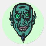 vampire alien round sticker
