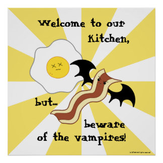 Vampire bacon and dead egg silly breakfast poster